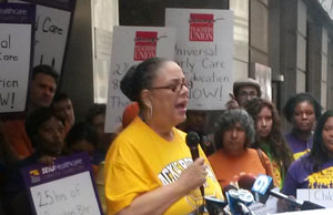 Karen Lewis at preschool for all rally