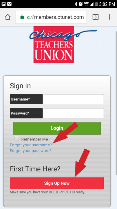 screenshot of mobile sign in page indicates where Forgot Username and Sign Up Now links are found