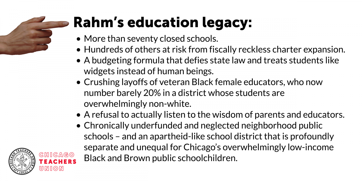 No cover for Rahm's failed education policies