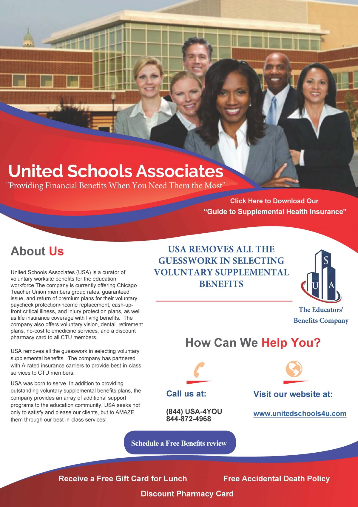 Extensive advertisement for United School Associates, who are 'a curator of voluntary worksite benefits for the education workforce.' USA is a vendor approved by the CTU Policies Committee. Click link for their website with further explanations.