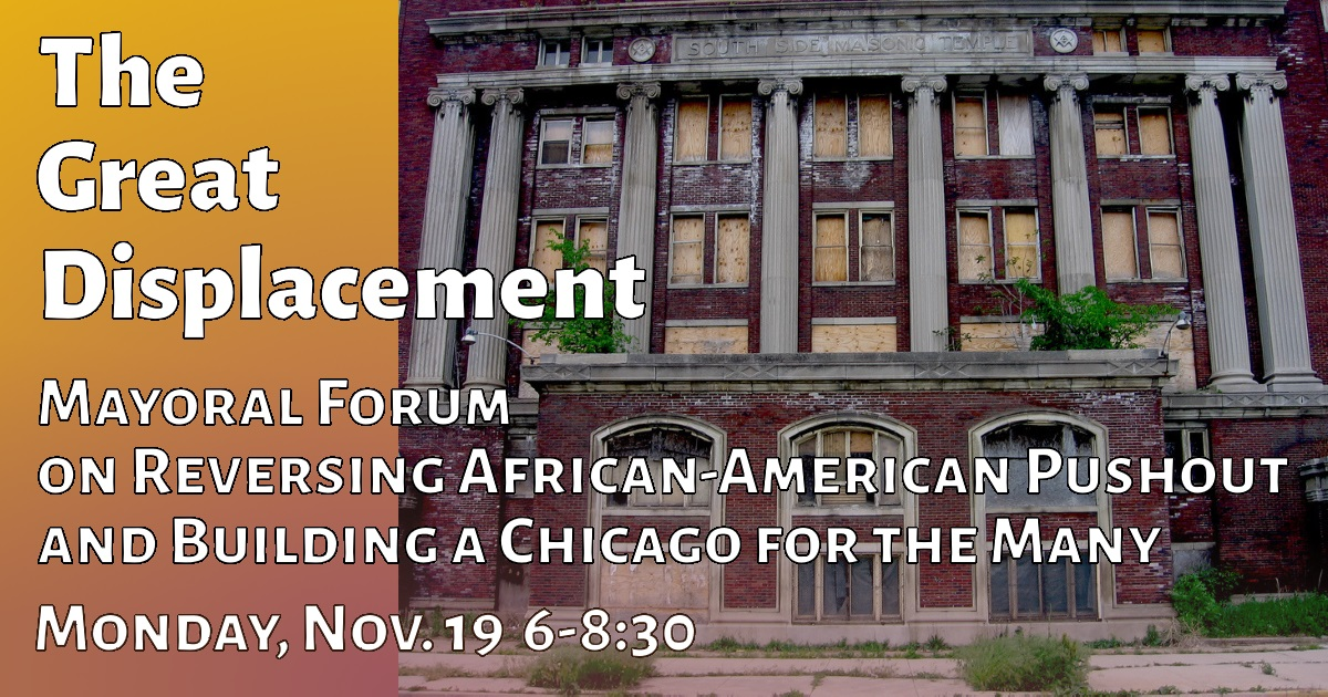Forum Title overlaying image of boarded up South Side Masonic Temple