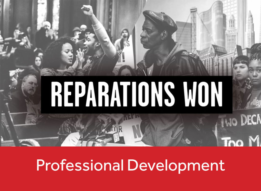 "Images from the movement to win justice for torture victims overlayed by the words ""Reparations Won: Professional Development"""