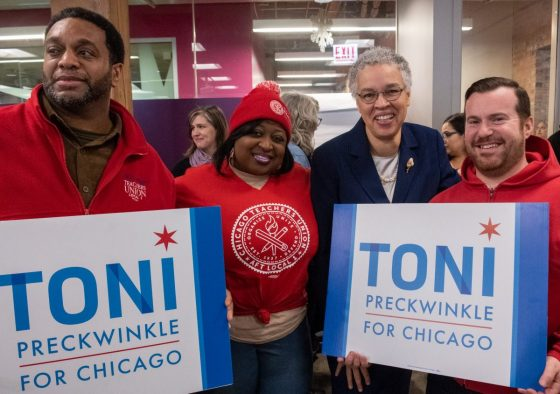 CTU members pose with Toni Preckwinkle, our endorsed mayoral candidate.
