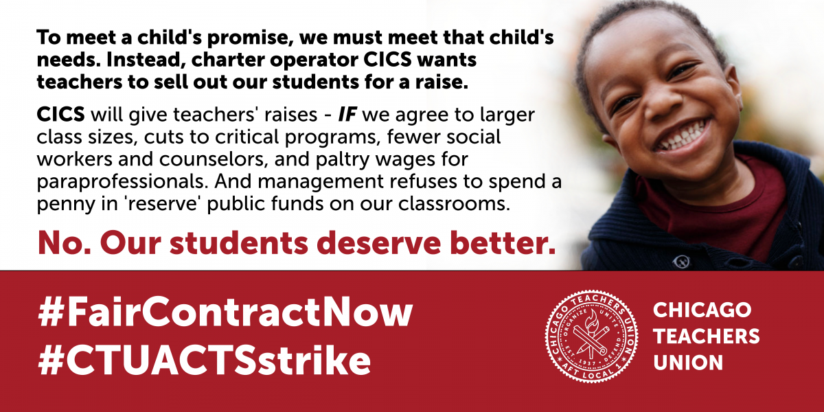 CTU to publicly reject CICS demand to trade student needs for better wages
