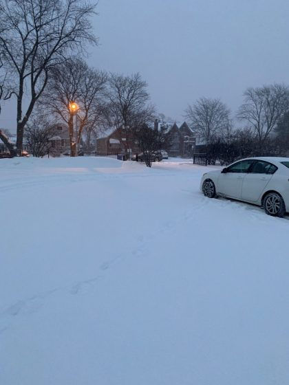Parking lot at Dever Elementary at 7 a.m on Jan. 28, 2019.