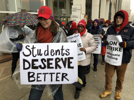 CICS strikers rally outside the Illinois Network of Charter Schools (INCS) in February.