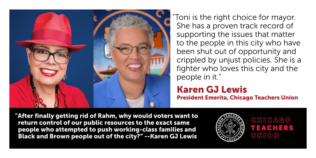 CTU President Emerita Karen Lewis endorses Toni Preckwinkle for mayor