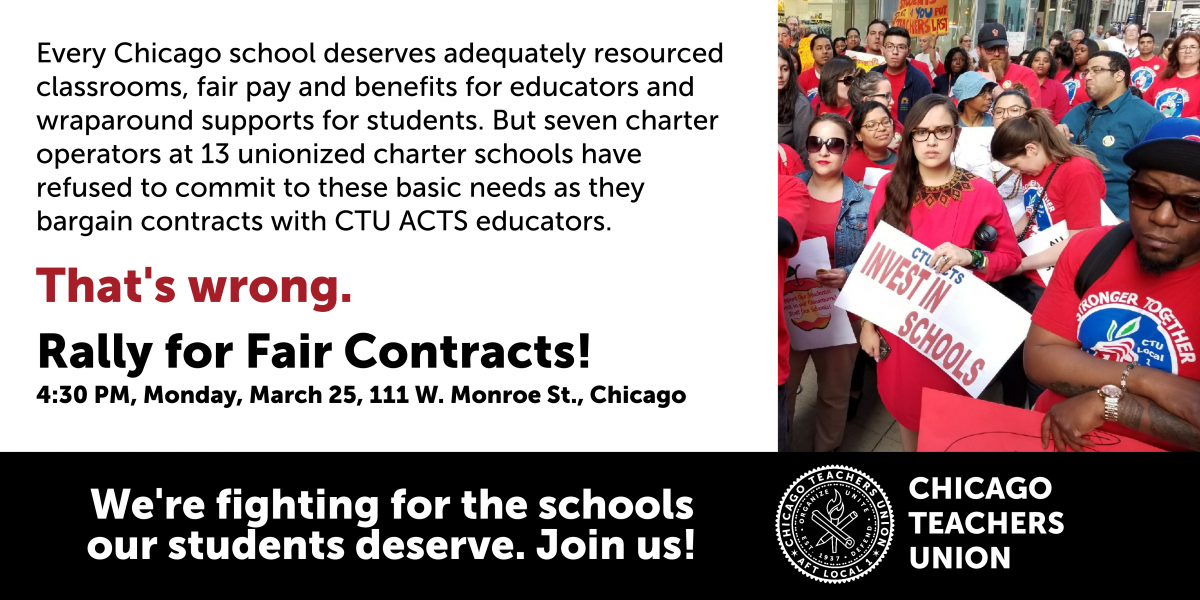 CTU to rally for fair contracts for charter educators, announce strike vote dates