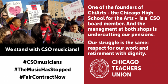 CTU and ChiArts stands with CSO musicians