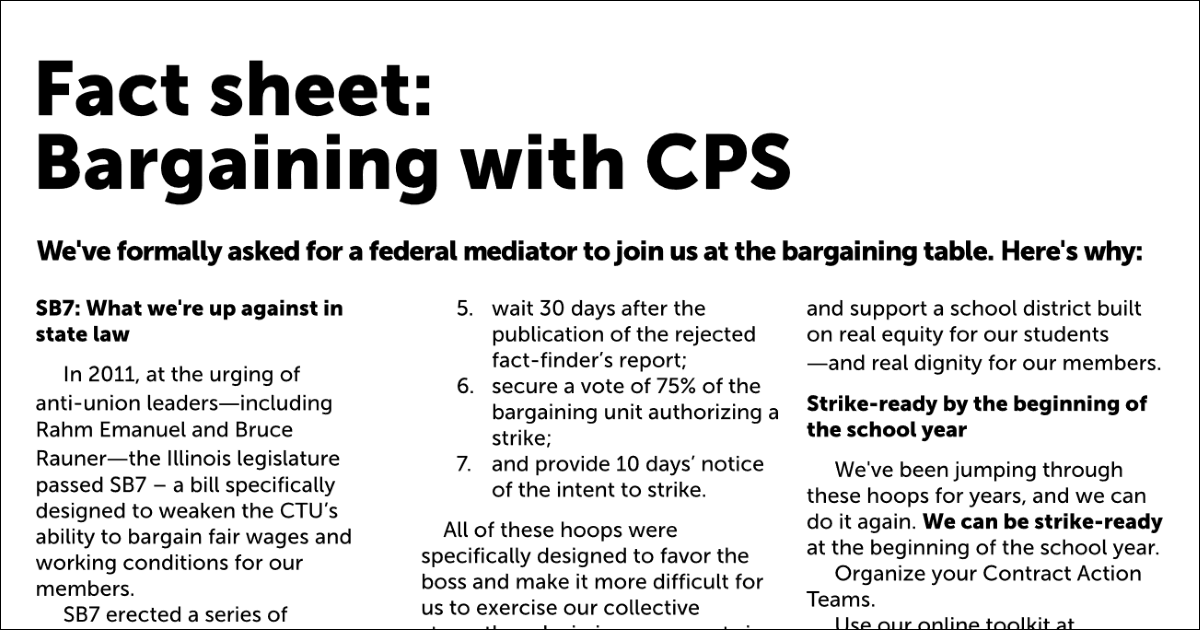 Just the Facts: Key information on CPS negotiations