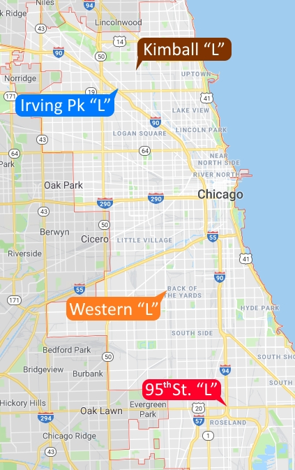 Locations for Flyering: Brown Line L station at Kimball & Lawrence; Blue Line L station at Irving Park and the Kennedy Expressway; Orange Line L station at Western and Pershing; and the Red Line L station at 95th and the Dan Ryan Expressway.