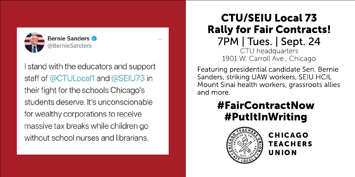 Presidential candidate Sen. Bernie Sanders to join CTU, SEIU at rally for fair contracts for Chicago workers
