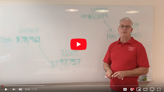 Still from video of math teacher Jim Cavallero standing ready at a whiteboard.