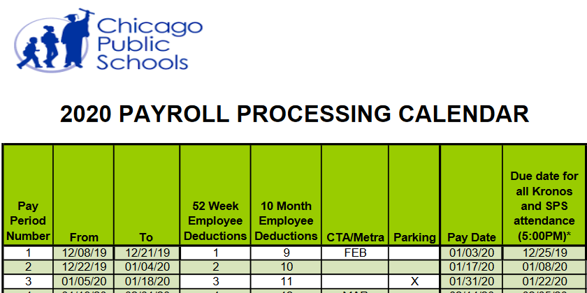 Payroll Calendar | Chicago Teachers Union