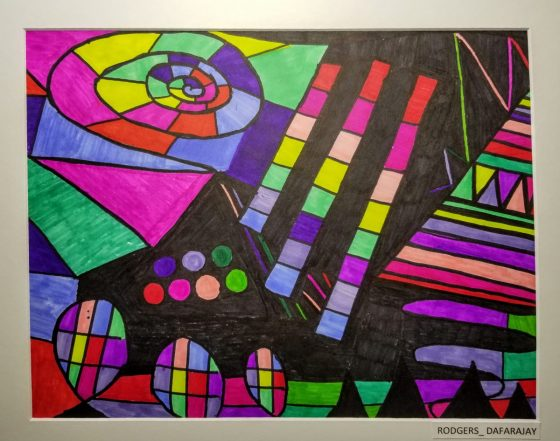 Bright, multi-colored, green, purple, yellow, pink modern style painting in a white frame.
