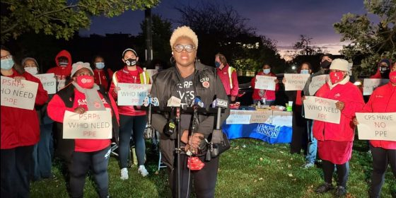 CTU members and staff distribute PPE to clerks at tech coordinators in a dawn action