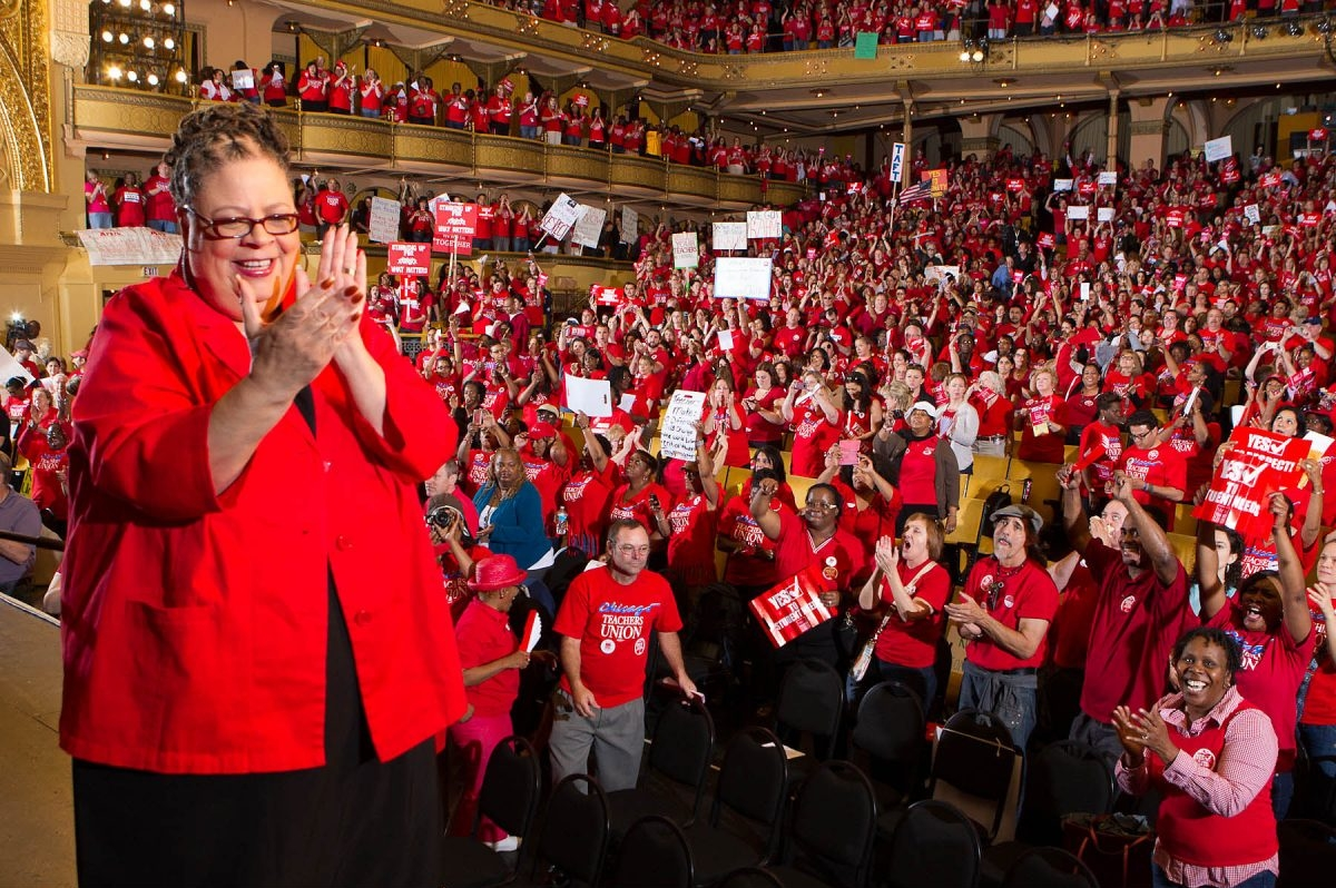 Karen Lewis applauds during the May 23, 2012 Auditorium Theater Rally
