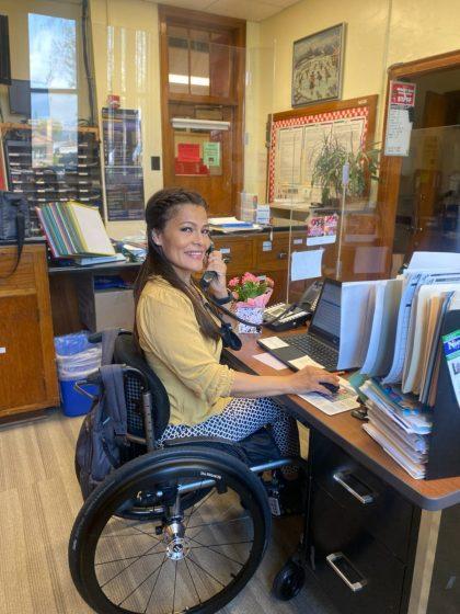 School clerk Judy Mahoney