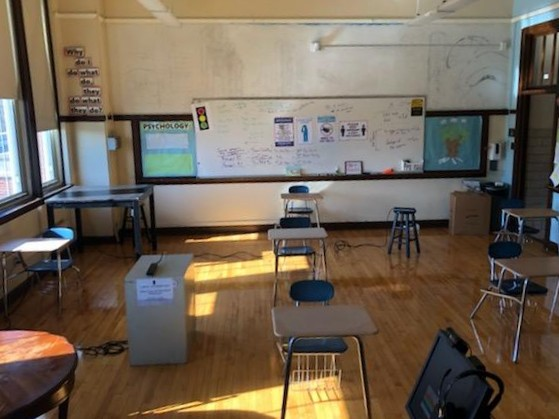 A classroom at Lincoln Park High School