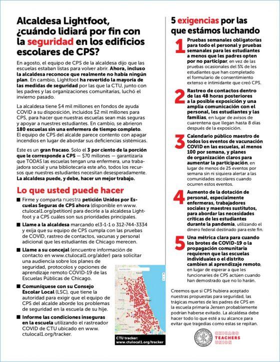 Spanish version of five demands flyer for parents.