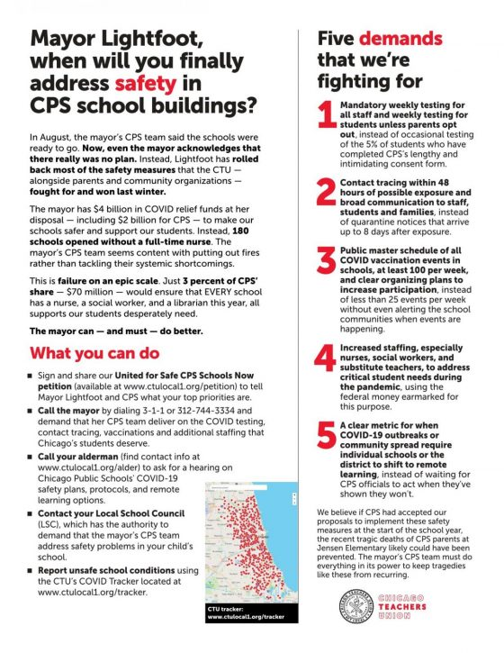 Flyer for the public outlining the CTU's demands.